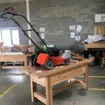 Renew Enterprises lawnmower in workshop